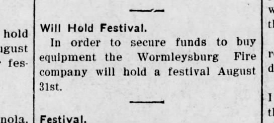 Worm 09-7-25 to have festival - hold August festival. Enola, Will Hold...