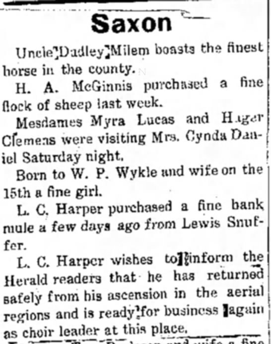 """Birth of daughter to W.P. Wykle and wife - Saxon """"~ Uncle^DudleylMilem boasts the finest..."""