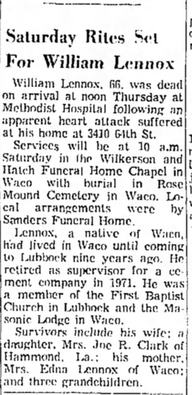 funeral notice for william lennox oct 20, 1972