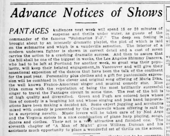 Green and Pugh at Pantages 19Jul1919 - Advance Notices of Shows PANT AGES commander of...