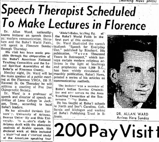 Baha'i Allan Ward speaks in Florence SC - Speech Therapist Scheduled To Make Lectures in...
