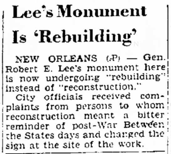 - Lee's Monument Is 'Rebuilding' NEW ORLEANS P...