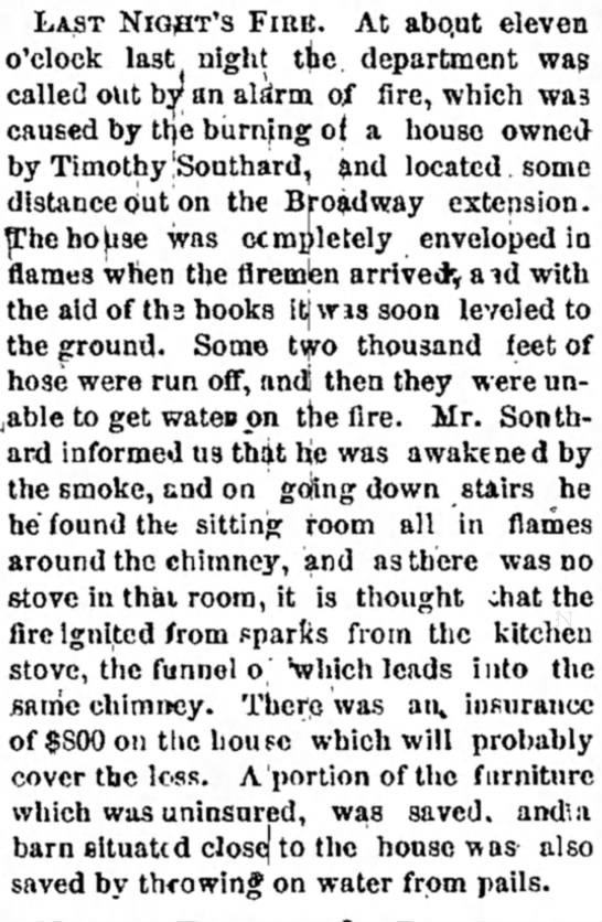 "Timothy Southard house fire Bangor Daily Whig & Courier 25 Oct 1878, Page 3 - 6n ^ T NlQ * IT S f' At abo - at eleveB """"..."
