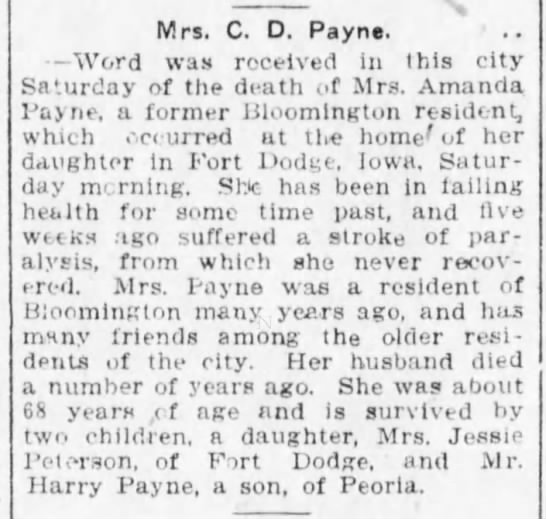 Amanda Payne obit - Mrs. C. D. Payne. Word was received in this...