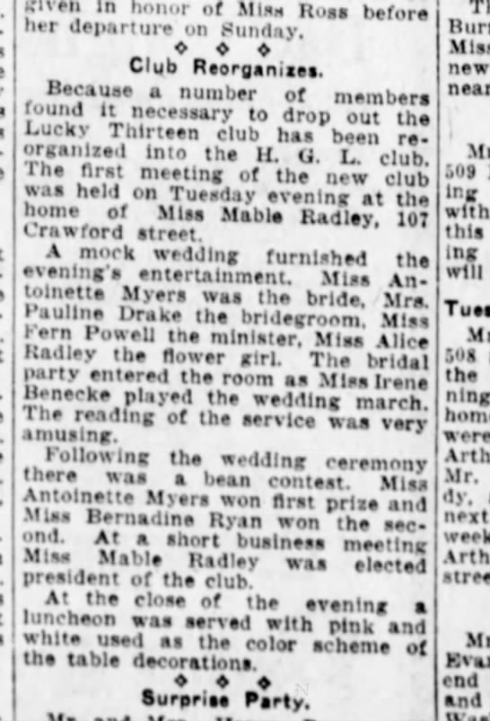 Alice Radley Lucky 13 club 26 Nov 1925 - given In honor of Miss Ross before her...
