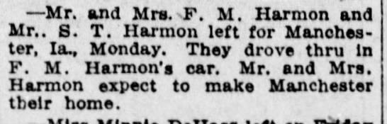 Harman - Mr. and Mrs. F. M. Harmon and Mr.. S. T. Harmon...