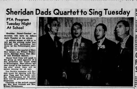 Freeland sings in barbershop quartet of Sheridan Fathers 2 April 1950 - Sheridan Dads Quarter fa Sing Tuesday PTA...