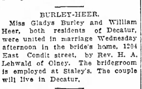- BURLET-HEER, Miss Gladys Burley and William...