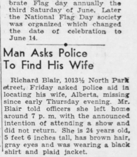 Blair, Alberta Missing - celebrate Flag day annually the third Saturday...