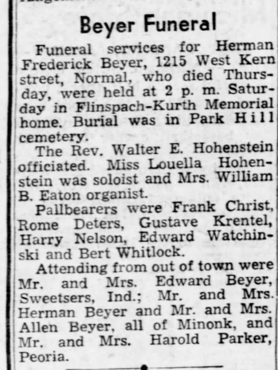 Herman beyer - Beyer Funeral I TTS moral cPTVlCS for Herman...