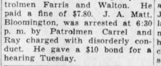 J. A. Matt Drunk and Disorderly - Patrolmen Farris and Walton. He paid a fine of...