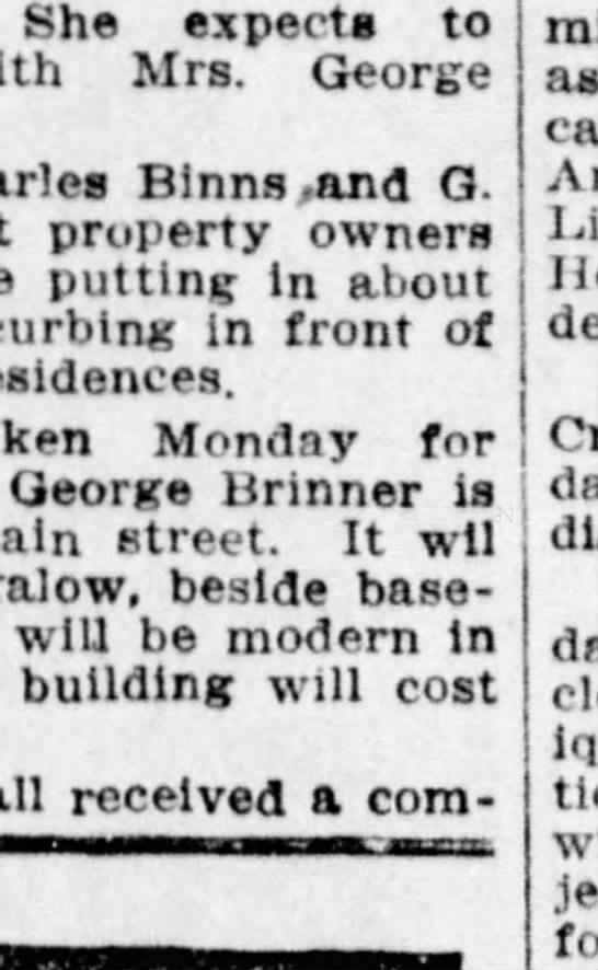 Quisenberry Baby Funeral - She experts to Mrs. George Binnsand Q. property...