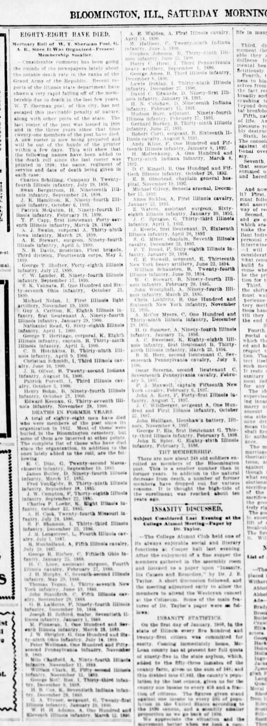 Panatagraph 9 Feb 1901 mortality list of Civil War soldiers - BLOOMINGTOX, ILL, SATURDAY MORNING,...