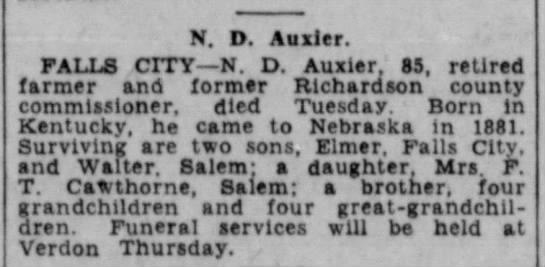 OBIT for Nathaniel D Auxier - native of Johnson Co KY - N. D. Auxier. FALLS CITY—N. D. Auxier, 85,...