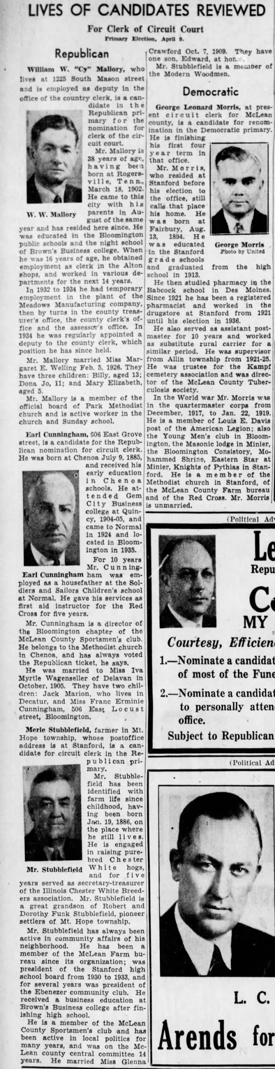 Mar 28, 1940 Merle Stubblfield wedding date in paper bio