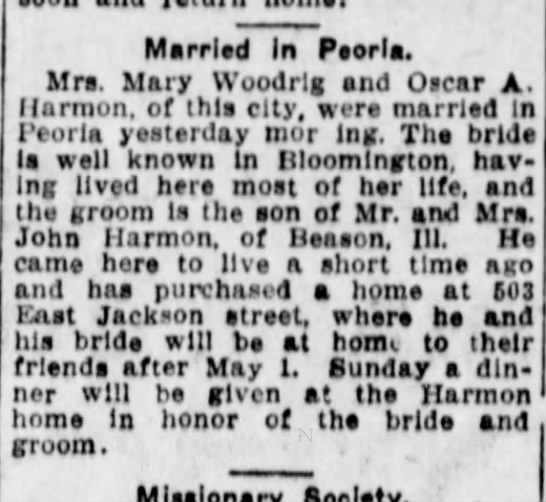 Woodrig - Married In Peoria. Mra. Mary Woodrlg and Oscar...