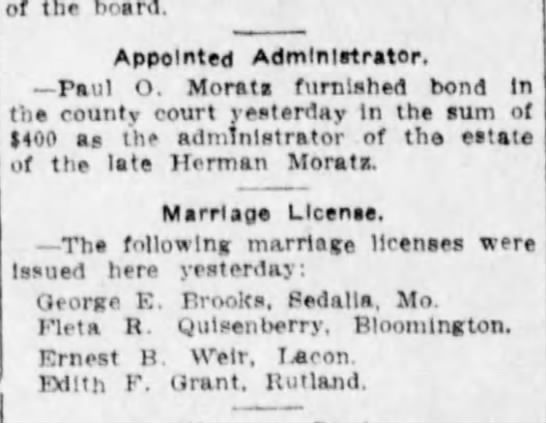 Brooks, George & Fleta Quisenberry Marriage License - of the bosrd. Appointed Administrator. Paul O....