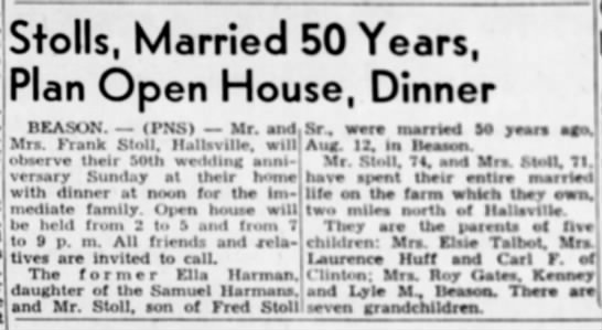 50th wedding anniversary of Frank and Ella Harmon - Stolls, Married 50 Years, Plan Open House,...