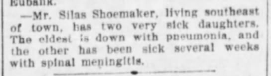 Shoemaker, Silas, sick children - Mr. Silas Shoemaker, living antt'heast . 1 . u...