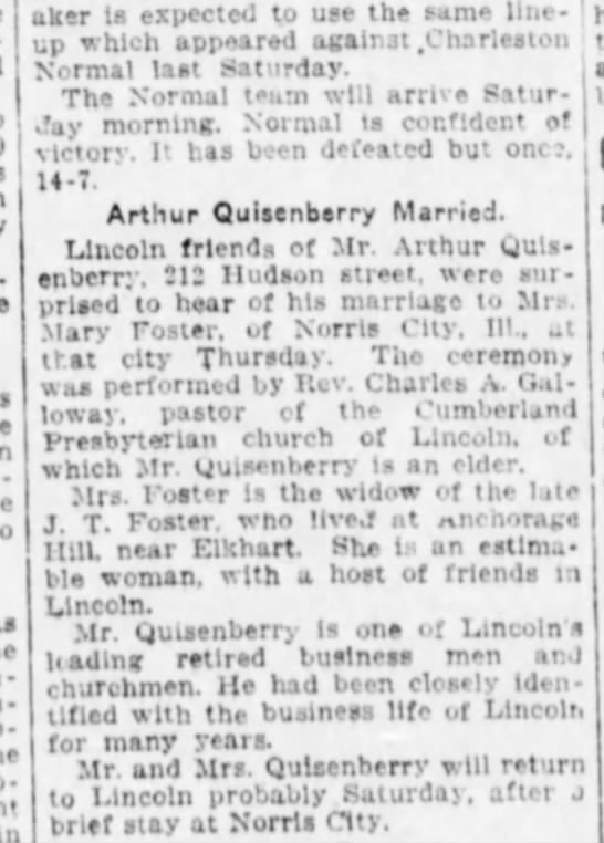 Quisenberry, Arthur & Foster Marriage - m O aker is expected to use the same lineup...