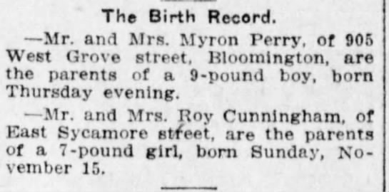 Perry News 1914-11-28 Myron Perry Son Birth Announcement - The Birth Record. Mr. and Mrs. Myron Perry, of...