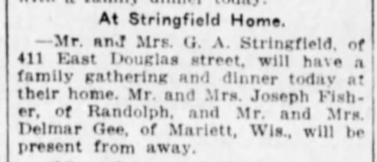Dinner at the Stringfields - At Stringfield Heme. Mr. an.f Mrs. (J. A....
