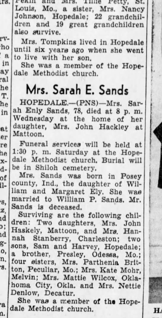 Obit Sands, Sarah Eley - a in the T, the in at Pax-ton of Petty, St....