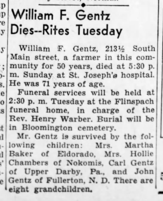 11 feb 1941 Obit William Gentz - peo- obliga- 1 William F. Gentz Dies-Rites...