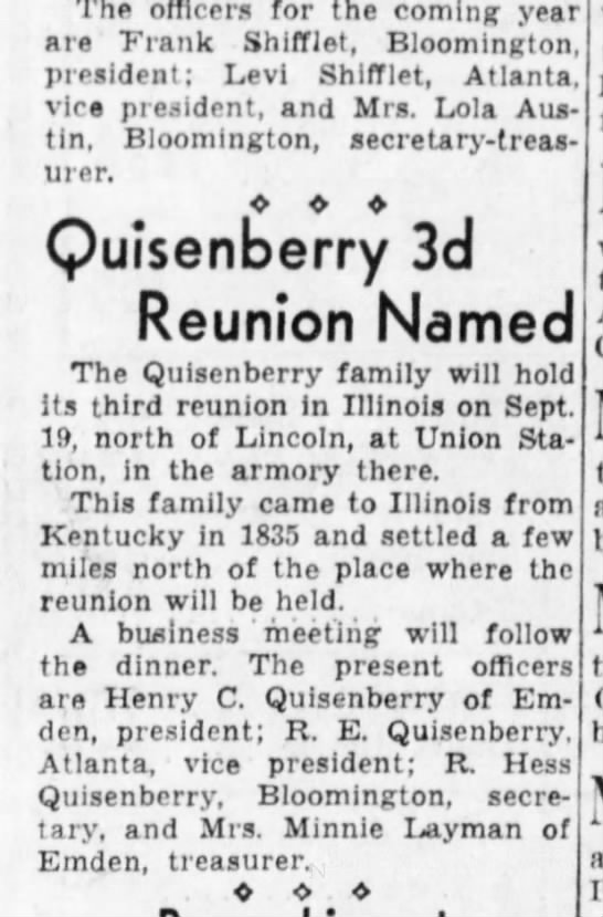 Quisenberry Reunion 3rd Planned - The officers for the coming year are Frank...