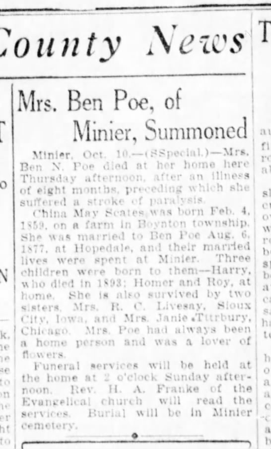 Obit Poe, China Quisenberry - County News Mrs. Ben Poe, of Minier, Summoned j...
