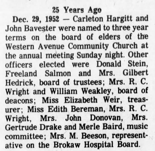 25 yr remembrance F Salmon elder at Western Ave Community Church, 29 Dec 1977 - 25 Years Ago Dec. 29, 1952 Carleton Hargitt and...