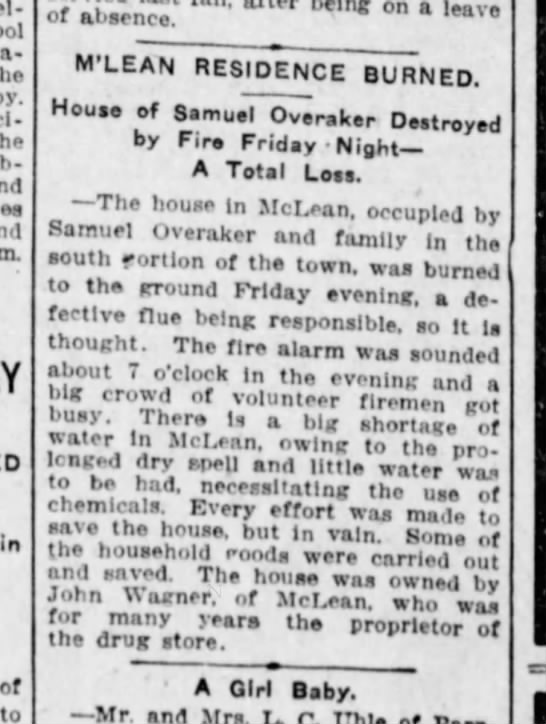 Samuel Overaker house fire- Pantagraph Jan 30, 1915 - Pel-ton by. .ub-Ject m. of to or'enci: brt-...