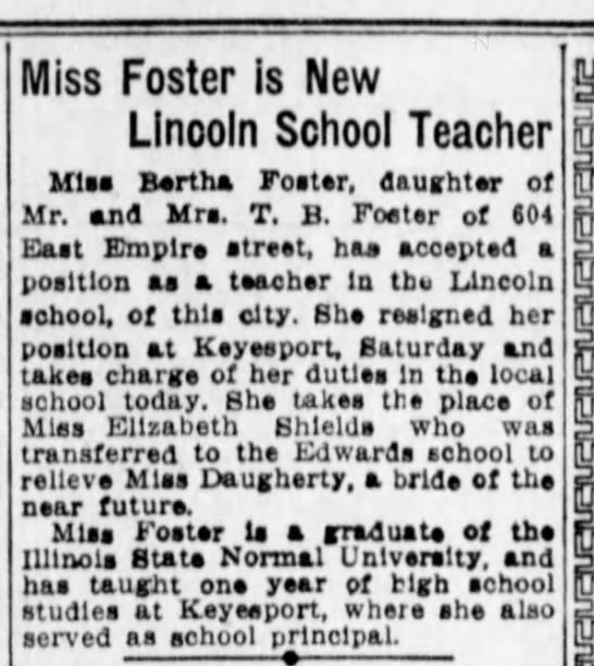 Foster, Bertha daughter of T.B Foster 1919