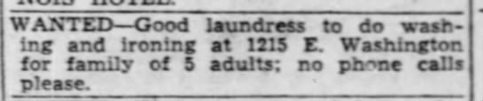 1215 E Washington - Add for laundress - I WANTED Good laundress to do wash' ing and...