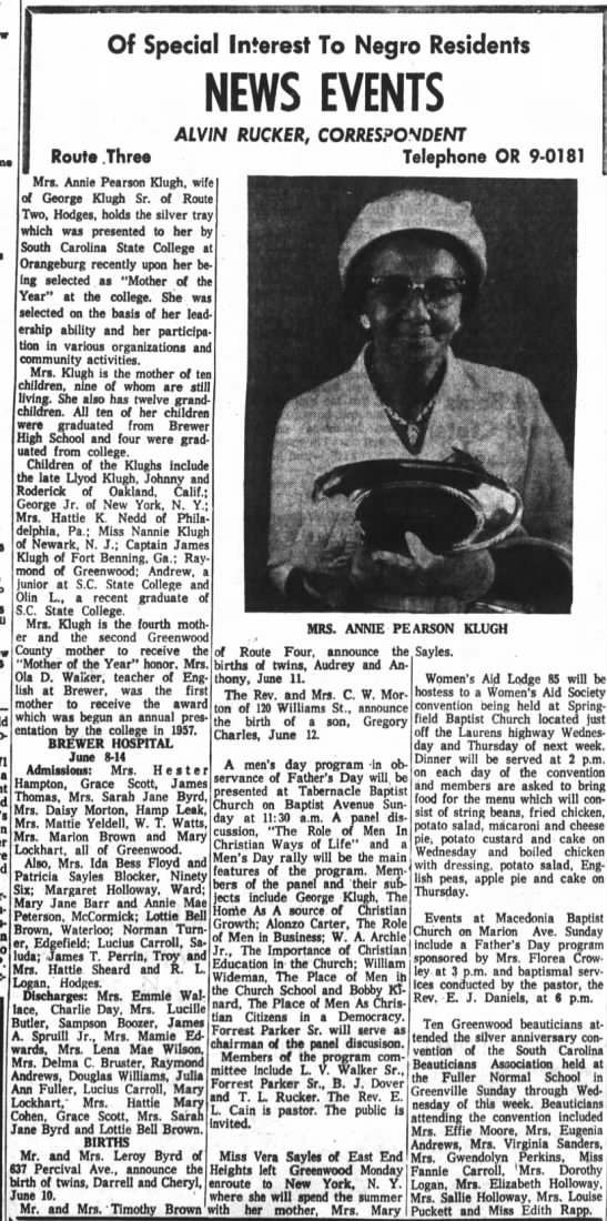 "Annie Pearson Klugh is awarded ""Mother of the Year"" South Carolina State College 16 Jun 1960 - pre-Revo- a in Of Special Interest To Negro..."