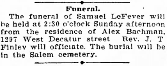 Samuel LeFever The Daily Review Decatur Il 3 July 1904