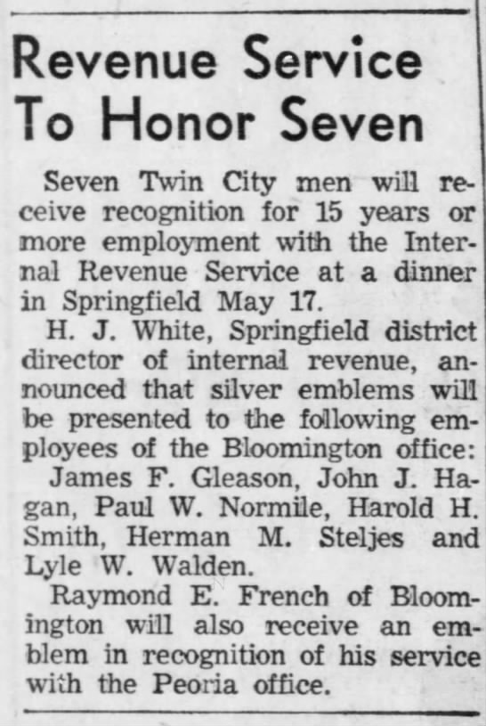 Lyle W. Walden, The Pantagraph, Bloomington, Illinois, Sunday, May 11, 1958, Page 9 - Revenue Service To Honor Seven Seven Twin City...