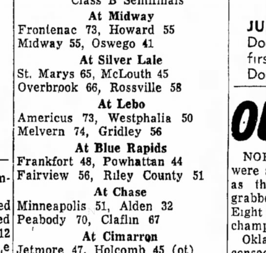 1961 Regional Frankfort beats Powhatan FHS beats Riley County and eventually wins the Regional - 12 At Midway Frontenac 73, Howard 55 Midway 55,...