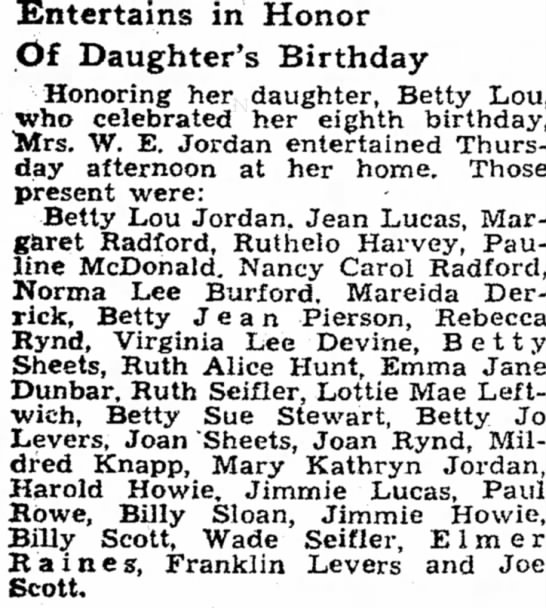 Lottie Mae Leftwich attends party 1935 - Entertains in Honor Of Daughter's Birthday...