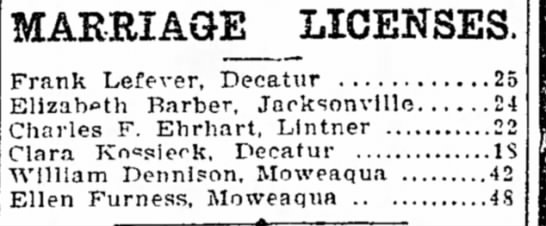 Frank Lefever Marriage The Daily Review Decatur Il 27 July 1904