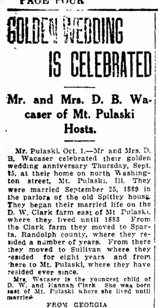 Marriage at Spitley House - Mr. and Mrs. D. B. Wacaser Wacaser of Mt Pulaki...