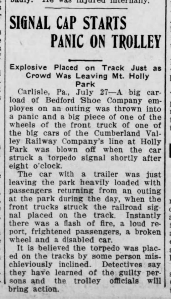 Trolley issue 1912 - SIGNAL CAP STARTS PANIC ON TROLLEY Explosive...
