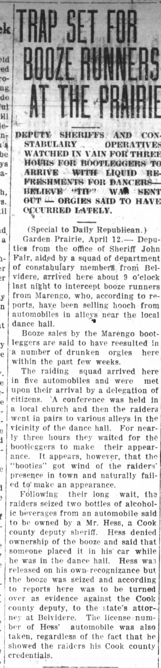 Booze Runners from Marengo at Boone County Dance Hall Republican-Northwester 18 APR 1924 - mlscellan- be a John- SH EIUFFS AND COX-...
