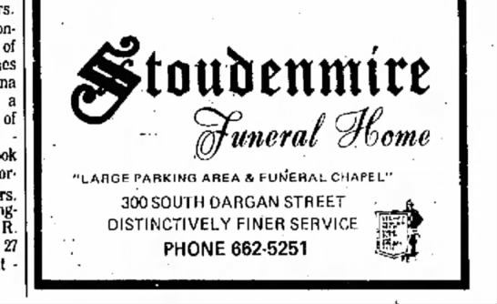 funeral home - of Jones Anna a of f o u r step Cook Gor Mrs R...