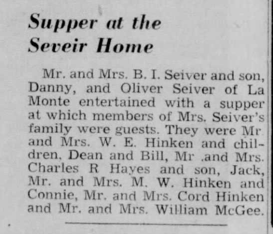 supper at sissys - Supper ot the Seveir Home Mr. and Mrs. B. I....