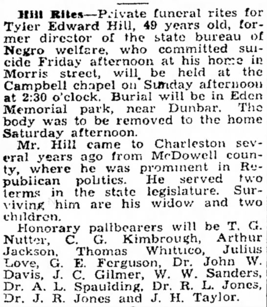 Dec 3 1932 Obituary for Tyler Edward Hill