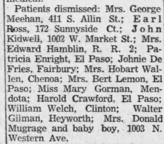 must be Mark - Patients dismissed: Mrs. George Meehan, 411 S....
