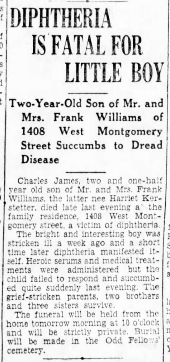 Death: Charles James Williams - DIPHTHERIA IS FATAL FOR LITTLE BOY Two-Year-Old...