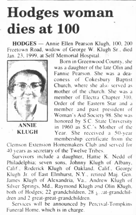 Annie E Pearson Klugh's obit 25 Jan 1999 - ANNIE KLUGH Hodges woman dies at 100 HODGES...