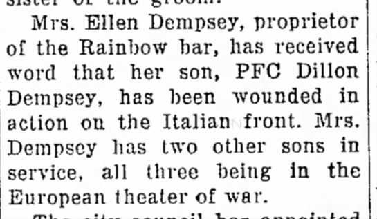 May 5, 1945 - Mrs. Ellen Dempsey, proprietor of the Rainbow...